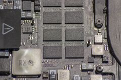 Laptop motherboard with electronic components royalty free stock images
