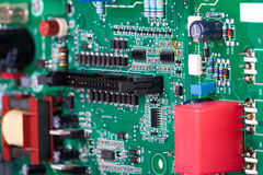 Circuit board with electronic components Stock Photos