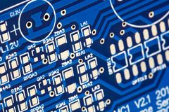 Circuit board. Electronic computer hardware technology. Royalty Free Stock Images
