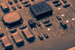 Circuit board. Electronic computer hardware technology. Information engineering component. macro photography Stock Images