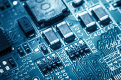 Circuit board. Electronic computer hardware technology. Information engineering component. macro photography.  Royalty Free Stock Image