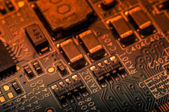 Circuit board. Electronic computer hardware technology. Information engineering component. macro photography Stock Photos