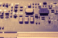 Circuit board. Electronic computer hardware technology. Information engineering component. macro photography Stock Photography