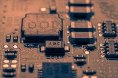 Circuit board. Electronic computer hardware technology. Information engineering component. macro photography Royalty Free Stock Image