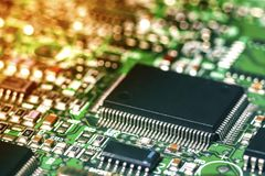 Circuit board. Electronic computer hardware technology. Motherboard digital chip. Tech science background. Integrated. Communication processor. Information stock photos