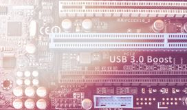 Circuit board. Electronic computer hardware technology. Motherboard digital chip Stock Photo