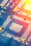 Circuit board. Electronic computer hardware technology. Motherboard digital chip. Royalty Free Stock Images