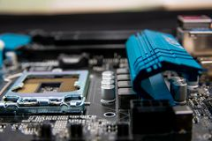 Circuit board. Electronic computer hardware technology.Motherboard digital chip .Modern Technology background. Motherboard for pro stock photo