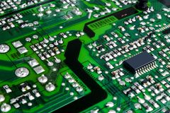 Circuit board. Electronic computer hardware technology. Motherboard digital chip. Technology science background. Integrated commun stock photos