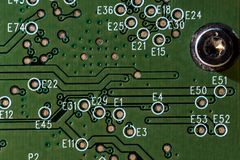 Circuit board. Electronic computer hardware technology. Motherboard digital chip. Tech science background. Integrated. Communication processor. Horizontal frame royalty free stock photo