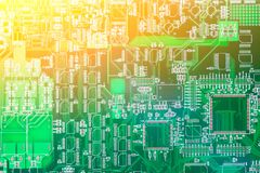 Circuit board. Electronic computer hardware technology. Motherboard digital chip. Tech science background. Integrated communicatio Stock Images