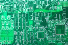 Circuit board. Electronic computer hardware technology. Motherboard digital chip. Tech science background. Integrated communicatio Royalty Free Stock Photography