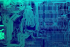 Circuit board. Electronic computer hardware technology. Motherboard digital chip. Tech science background. Integrated communication processor. Information Stock Images