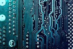 Circuit board. Electronic computer hardware technology. Motherboard digital chip. Tech science background. Integrated communication processor. Information Stock Image