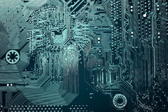 Circuit board. Electronic computer hardware technology. Motherboard digital chip. Tech science background. Integrated communication processor. Information Stock Photography