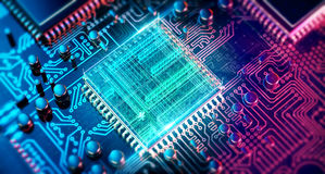 Circuit board. Electronic computer hardware technology. Motherboard digital chip. Tech science EDA background. Integrated communication processor. Information Stock Photography