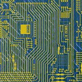Circuit board electronic golden - blue background Stock Photo