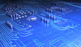 Circuit board. And electronic symbols Royalty Free Stock Photos
