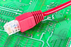 Circuit board with ethenet cable Royalty Free Stock Photo