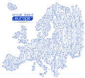 Circuit board Europe map background Royalty Free Stock Images