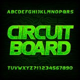 Circuit board font. Vector Alphabet. Digital hi-tech style letters and numbers. Royalty Free Stock Images
