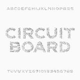 Circuit board font. Vector Alphabet. Digital hi-tech style letters and numbers. Stock Photo