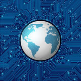 Circuit board frame with globe Royalty Free Stock Photos