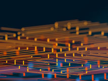 Circuit board futuristic server code processing. Orange, blue technology background with bokeh. 3d Illustration Stock Photos