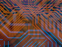 Circuit board futuristic server code processing. Orange, blue technology background with bokeh. 3d Illustration Royalty Free Stock Image