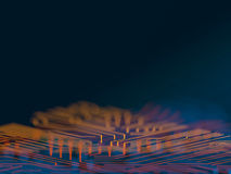 Circuit board futuristic server code processing. Orange, blue technology background with bokeh. 3d Illustration Stock Images