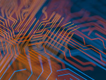 Circuit board futuristic server code processing. Orange, blue technology background with bokeh. 3d Illustration Royalty Free Stock Photography
