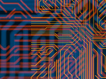 Circuit board futuristic server code processing. Orange, blue technology background with bokeh. 3d Illustration Royalty Free Stock Photos