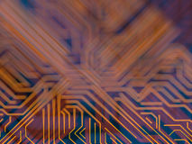 Circuit board futuristic server code processing. Orange, blue technology background with bokeh. 3d Illustration Stock Image