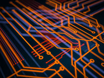 Circuit board futuristic server code processing. Orange, green, blue technology background with bokeh. 3d Illustration Stock Photos