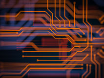 Circuit board futuristic server code processing. Orange, green, blue technology background with bokeh. 3d Illustration Royalty Free Stock Photos