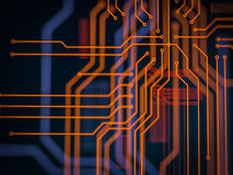 Circuit board futuristic server code processing. Orange, green, blue technology background with bokeh. 3d Illustration Royalty Free Stock Photo