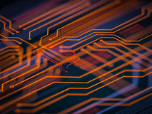 Circuit board futuristic server code processing. Orange, green, blue technology background with bokeh. 3d Illustration Royalty Free Stock Images