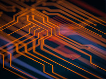 Circuit board futuristic server code processing. Orange, green, blue technology background with bokeh. 3d Illustration Stock Image