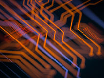 Circuit board futuristic server code processing. Orange, green, blue technology background with bokeh. 3d Illustration Royalty Free Stock Image