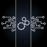 Circuit board and gears vector on black background. Motherboard and computer design Royalty Free Stock Image
