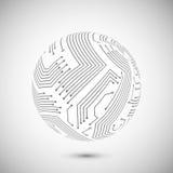 Circuit board  globe emblem Stock Image