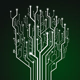 Circuit board on green background Royalty Free Stock Image