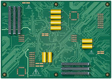Circuit board. On green background Stock Image