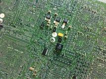Circuit board. Green electronic circuit board stock photography