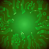 Circuit board green vector background. Engineering and tech, motherboard and computer design, vector illustration Royalty Free Stock Image