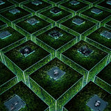 Circuit board grid. 3D illustration of conceptual computer technology Royalty Free Stock Photography