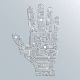 Circuit board hand Royalty Free Stock Image