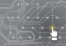 Circuit board with hand pushing button Stock Photography