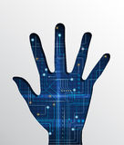 Circuit board in hand shape Stock Images