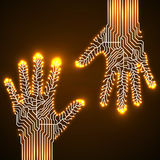 Circuit  board hands. Circuit abstract hands. Vector illustration. Eps 10 Royalty Free Stock Image